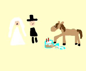 Inconsiderate horse ruins a wedding