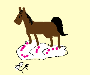 Horse destroys wedding cake.