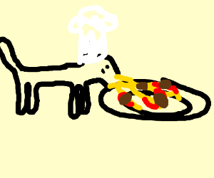 Chef Cat making hairball spaghetti