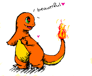 Charmander admires its tail
