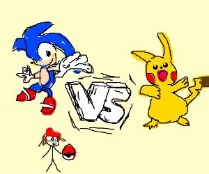 sonic vs pikachu vs pokemon trainer