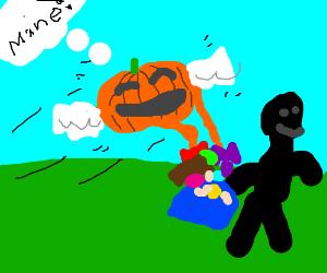 Flying pumpkin stealing candy from stickman