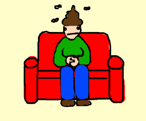 Poop-haired man on couch