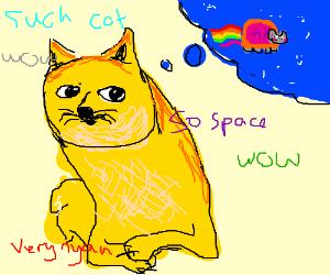Doge is wishing he was Nyan Cat