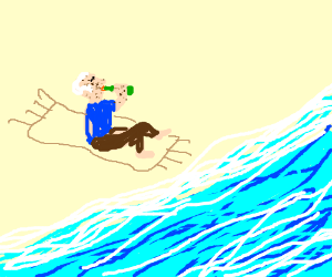 a bald spotty odd man drinking beer on seaside