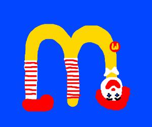 "Deformed man in shape of ""M"". Mcdonalds logo"