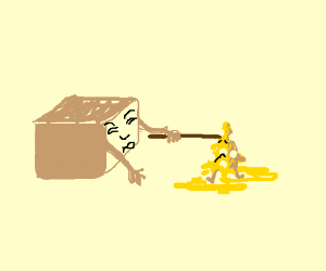 A box pokes some molten cheese with a stick