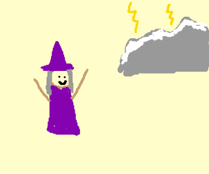 Wizard calls down lightning upon mountains.