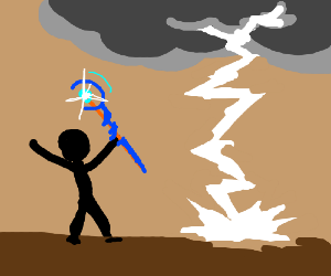 Weather Controling StickMan maked Thundercloud