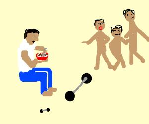 sad guy eats cereal at gym despite friends