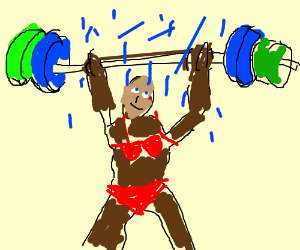 Blonde tanned girl lifting weights in the rain
