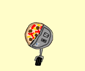 half robot half pizza is adopted