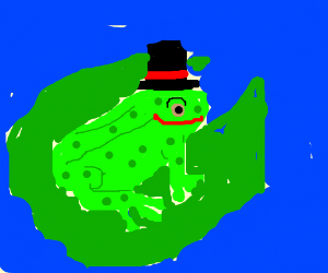 A happy frog in a top-hat