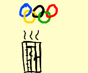 the olympic rings are above an outhouse