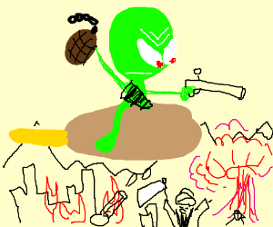 Angry alien rides a corndog into war