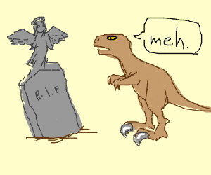 Raptor unimpressed by angel statue on a grave.