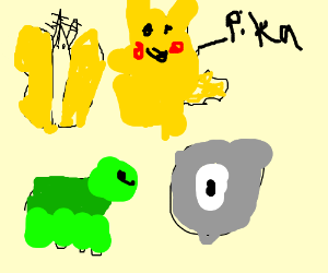 Moth, Turtle, Pikachu, Cyclops Rock turning up