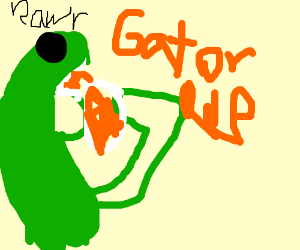 Dinosaur drinks gatorade