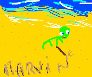 happy alien on beach sings his name is marvin