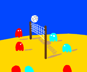 Pacman ghosts playing beach volleyball