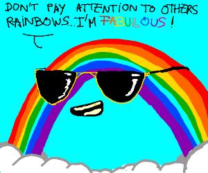 Arrogant rainbow shows off to other rainbow