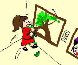 Girl reaches into picture and pulls out a tree