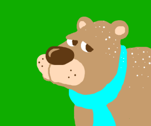 Brown bear w/ blue scarf and dandruff problem.