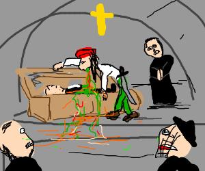 Jack Sparrow ruins a funeral