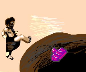 Leonidas spartan kicks Tetris piece down hole