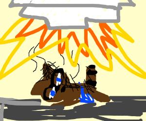racoon barbequing under rocket
