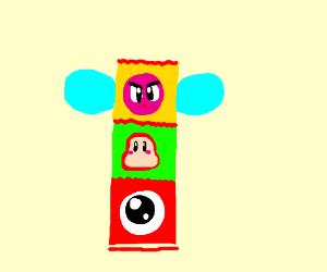 A strange totem pole.