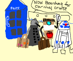 Dalek, CL4P & R2D2 goes on the trip