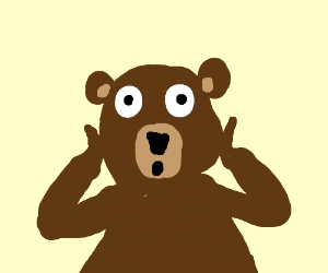 An angry bear realizes something urgent.