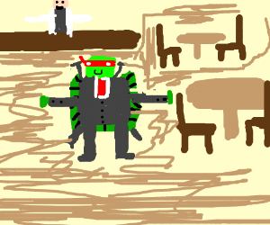 Ninja turtle in a suit