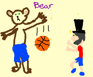Tall Bear is better at b-ball than Abe Lincoln