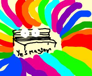 Hypnotised bench in a rainbow swirl