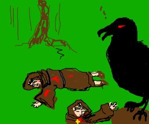 Demon-Crow slaughtering monks