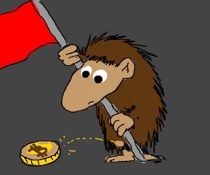 Patriotic hedgehog hates bitcoins