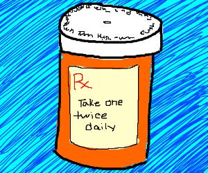 Bottle of prescription pills take twice daily