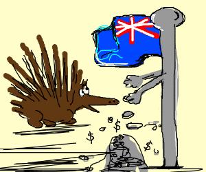 Porcupine: This flag pole makes cents.
