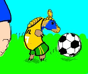 blue/yellow armadillo plays futbol for Brasil