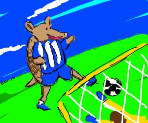 Armadillo playing soccer