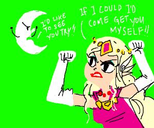 Zelda taunts angry moon