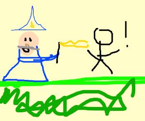 Wizard turns human into stickman.