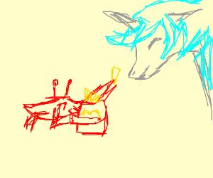 Crab giving a Unicorn McDonalds Food