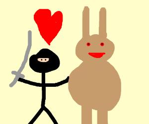 Ninja flirts with a giant rabbit... O.o