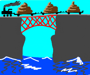 Poop train going on a bridge over the sea