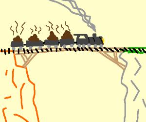 Train carrying poop over a bridge