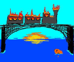 Flaming train on a bridge, goldfish looking at