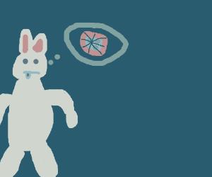 Strange bunny person loathes blue pizza